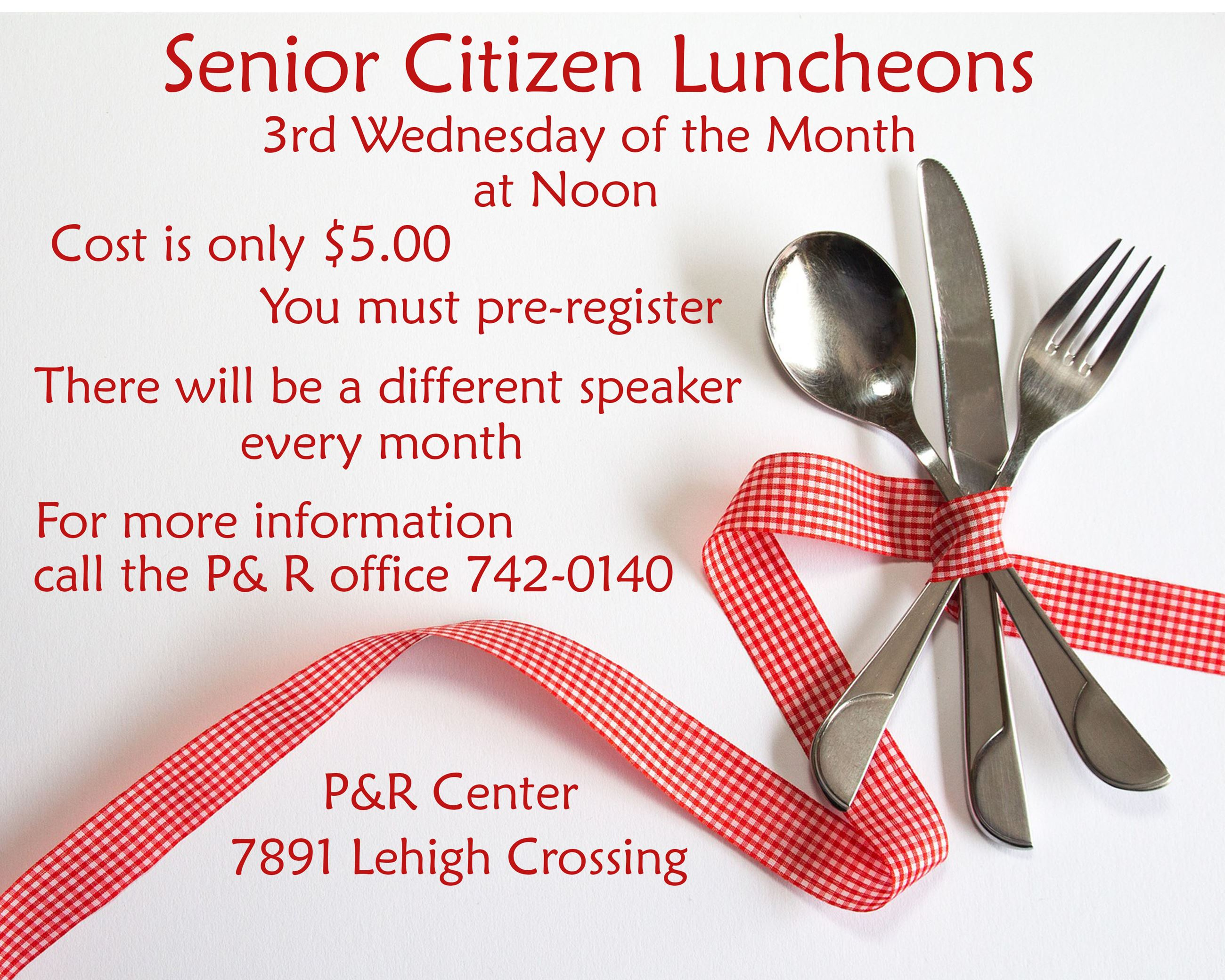Senior Luncheon Sign with fork spoon knife and red check ribbon