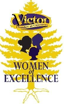 Women of Excellence Logo evergreen tree with three silhouettes of women