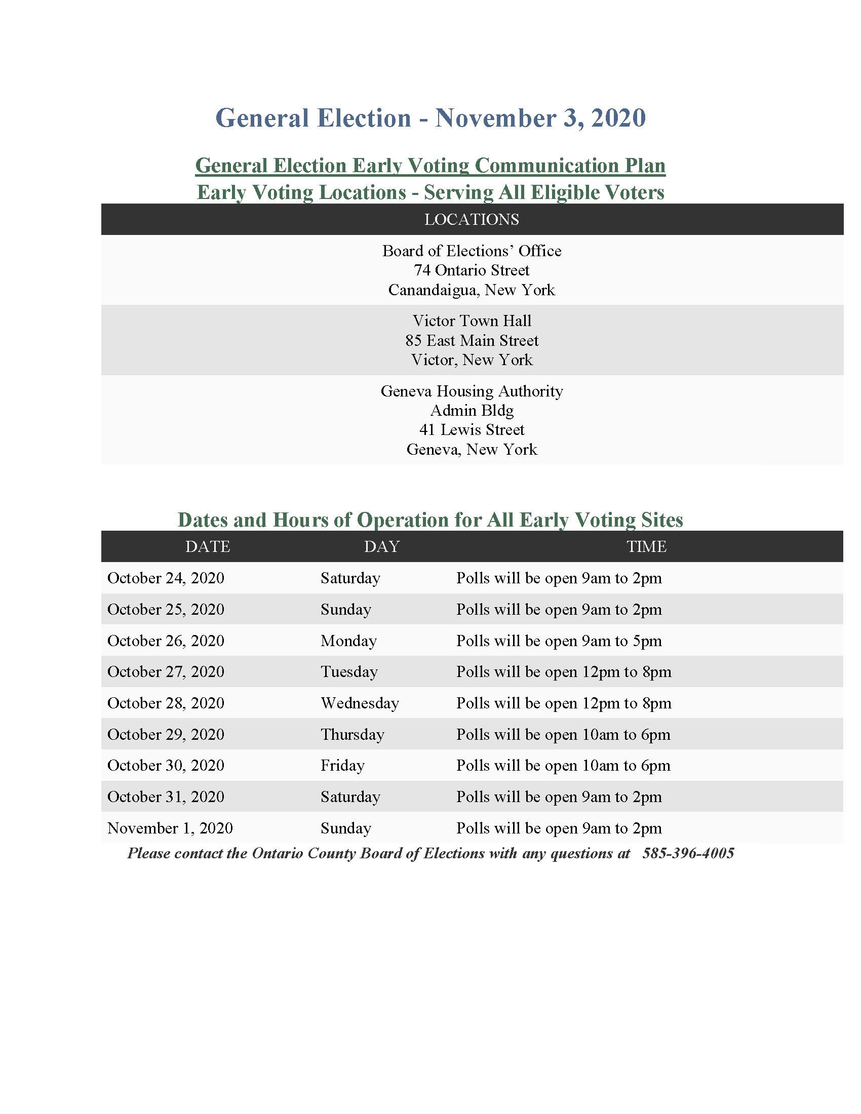 General Election Early Voting Schedule