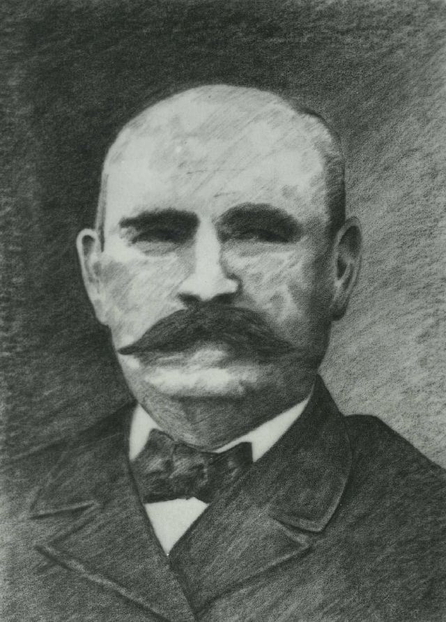 artists sketch of Edward McCrahon black and white shoulders up with mustache