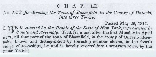 excerpt of the Incorporation of the Town of Victor Chapter LII